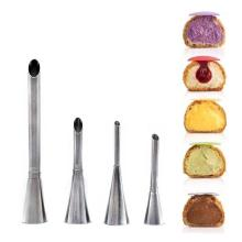 4Pcs Eclairs Puff Nozzle Cupcake Injector Pastry Syringe Cream Piping Tip Nozzles Kit Cake Dessert Confectionery Equipment Tools