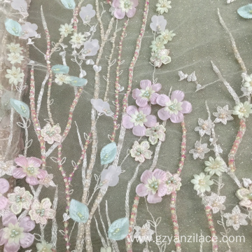 Pink Stone Embroidery Fabric for Dress