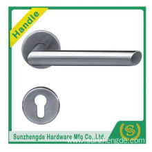 SZD STH-112 Modern Stylish Brushed Stainless Lever Door Handle Pair On Rose Set+Escutcheon