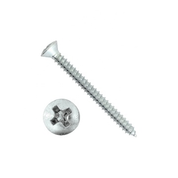 Steel cross recessed raised countersunk head tapping screws