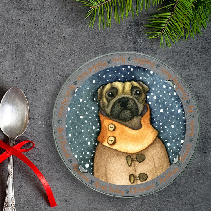 winter-pug-round-glass-coaster