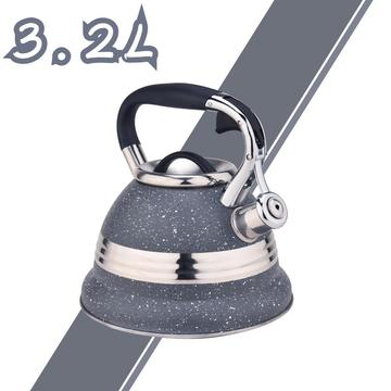Grey with Stainless Steel Design Whistling Teapot
