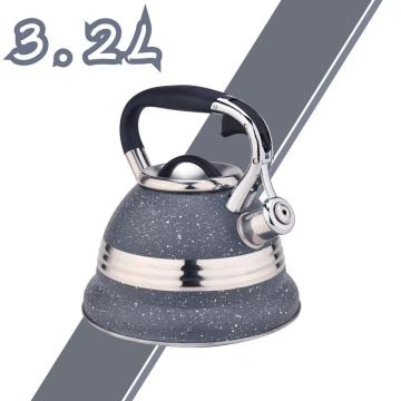 Grey with Stainless Steel Design Whistling Tea Kettle