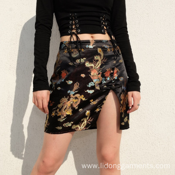 Fashion Split Side Mini Short Satin Skirt