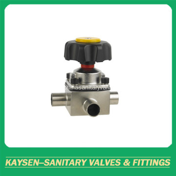 Sanitary three ways Diaphragm Valve with Butt-weld Ends