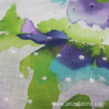 high quality printed cotton swiss dot fabric