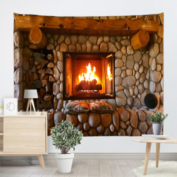 Cobblestone Fireplace Wall Tapestry Nature Tapestry Wall Hanging Polyester 3D Print Tapestry for Livingroom Bedroom Home Dorm De