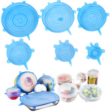 6Pcs/Set Reusable Silicone Food Cap Lid Food Container Fresh Lids Cover Stretch Sealing Lid Cover For Microwave Fridge Container