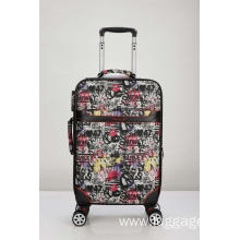 Printed Flowers Trolley Luggage with Removal Spinner