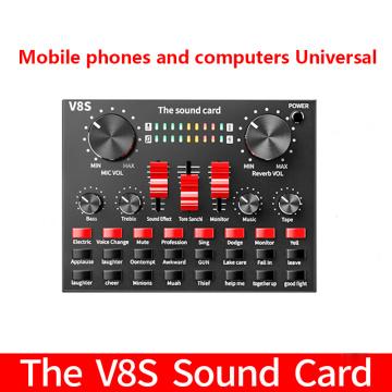 V8S Bluetooth 4.2 Audio Broadcast Headset Microphone Webcast Live Sound Card External USB Headset Microphone Live Karaoke Player