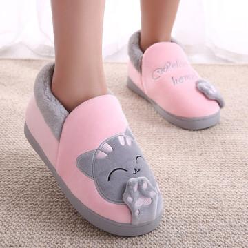 Women Winter Home Slippers Couple Shoes Female Plush Cartoon Cat Non-slip Warm Indoors Bedroom Floor Shoes Comfort Indoor Flats