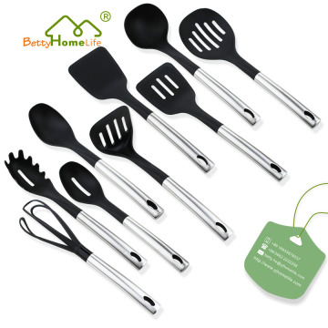 9PCS Stainless Steel Handle Nylon Kitchen Utensils Set