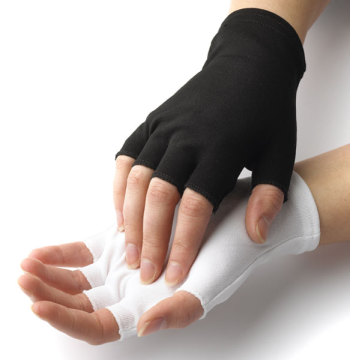 White Cotton Half Finger Gloves