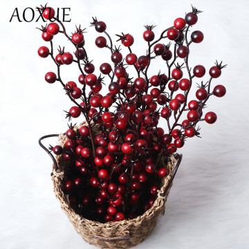 New mini pomegranate fruit bean branch berry artificial fake flower home wedding simulation fake flower Christmas decorations