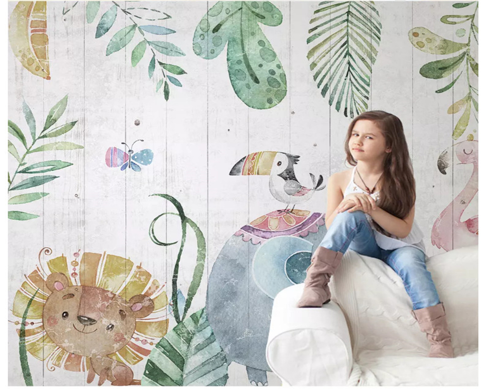 beibehang Custom hand-painted forest animals wood grain wood children's room TV sofa background wall painting wallpaper be'hang