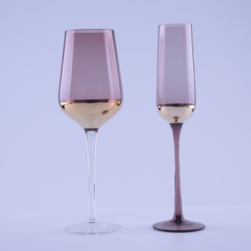 Wholesale Part Of Gold Plating Decorative Colored Red Wine Glasses