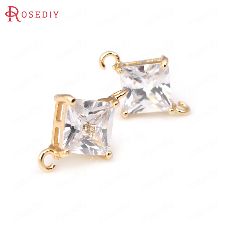 (31965)4PCS 6MM 8MM 24K Champagne Gold Color Brass with Zircon Square 2 hole Connector Charms High Quality Jewelry Accessories