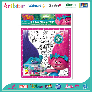 Trolls puzzle coloring set