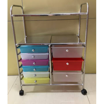 stainless steel utility cart with plastic drawers