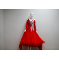 Red ballroom dance costumes for ladies