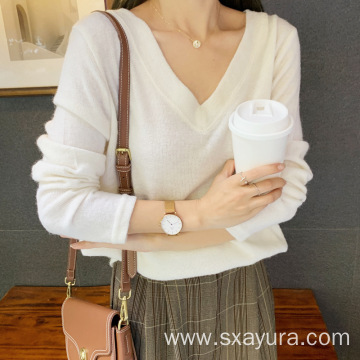Fall 4-color V-neck loose casual style top