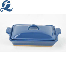 Factory direct handle ceramic bakeware solid color baking with lid