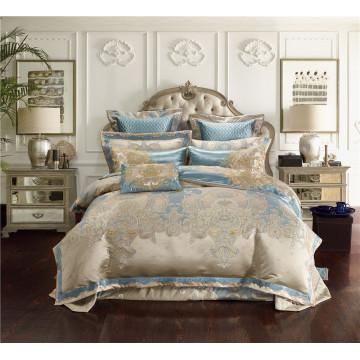 Jacquard Silk Cotton Luxury Bedding Sets King Size Queen size 4/6/10Pcs Bed Set Duvet Cover Cotton Flat Bed Sheet set Pillowcase