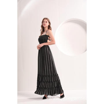 Black And White Print Vertical Striped Maxi Dress