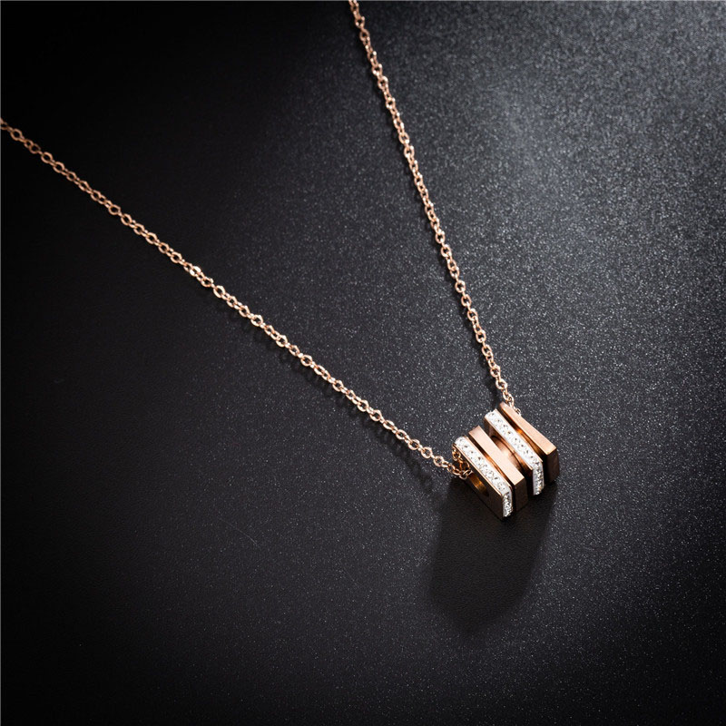 Stainless Steel Cube Pendant Necklace Chain Womens