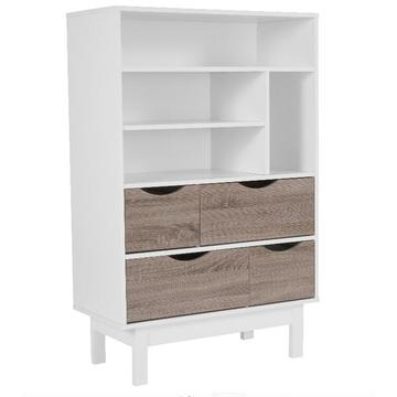 New Modern Wooden Open Bookcase with Drawers
