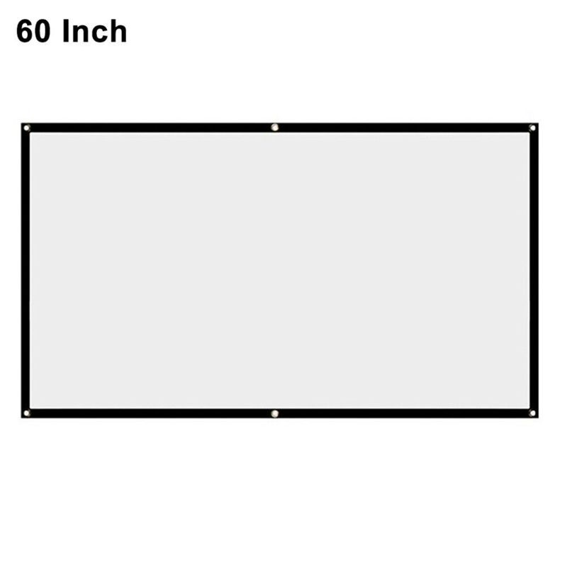 """16:9 Foldable Projection Screen Portable White Projector Curtain 60/72/84/100\"""" X6HB"""