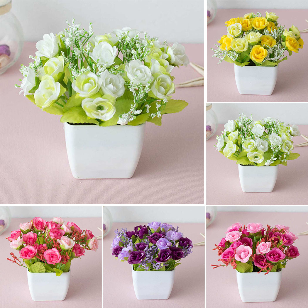 1pc Artificial Fake Potted Flower Plant Bonsai Outdoor Indoor Garden Home Decor With Basin Fake Flower Pot
