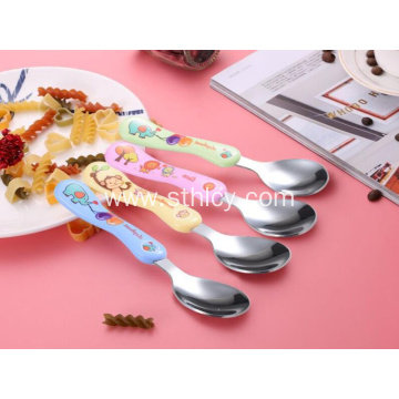 New Cartoon Stainless Steel Children's Rice Soup Spoon