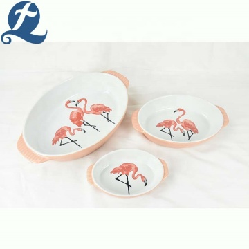 Flamingo pattern baking dish with handle