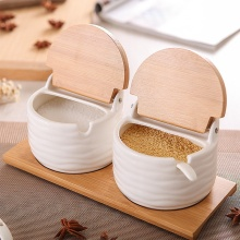 Porcelain Condiment Jar Spice Container with Lids - Bamboo Cap, Wooden Tray Spices Box Storage banks Tea Box Kitchen Storage Can