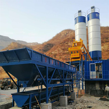 Good quality fixed concrete mixing plant HZS75