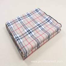 100 polyester check printed design polar fleece blanket