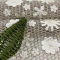 Champagne PU Laser Cut Flower Embroidery Fabric
