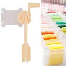 1pc String Winder and 100pcs Thread Card Embroidery Plastic Thread Bobbins Floss for Storage Holder Winding Stitch Wound Tool
