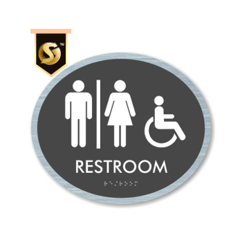 Custom Aluminum Toilet Signs Tactile Door Plates