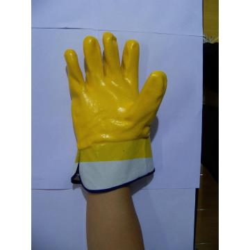 Yellow PVC coated glove with safety cuff