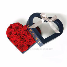 Luxury Custom Rigid Heart Shape Flower Paper Box