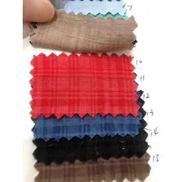 New Product 50%Cotton 50%Rayon Dark Plaid Slub Fabric