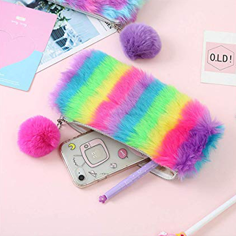 Fuzzy Pencil Case With Pompon 4