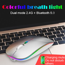 2.4GHz Receiver Bluetooth 5.0 Mouse 1600DPI Wireless Rechargeable Mute Gaming Mice for MacBook Laptop Computer PC Accessories