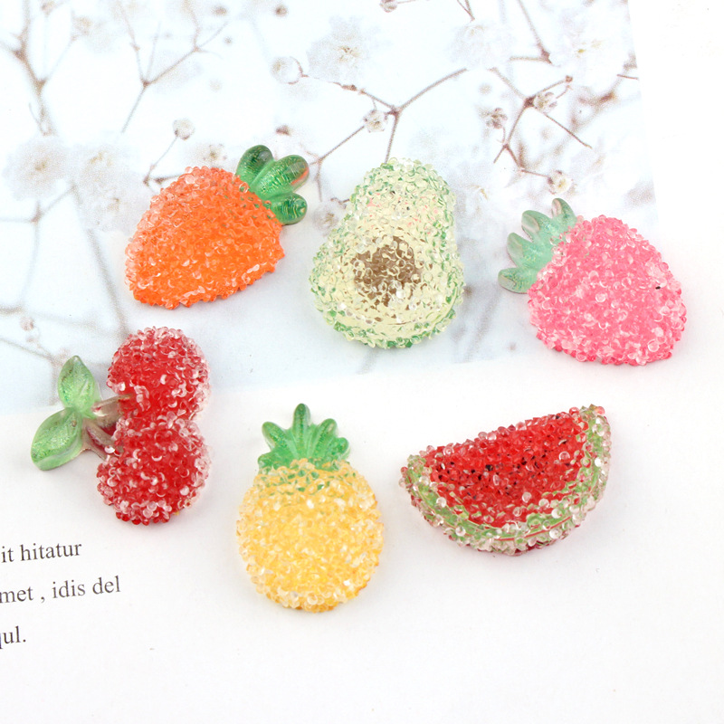 10Pcs/lot Resin Cabochon Cherry Strawberry Pineapple Fruits Diamond Flatback Cabochons for Hairpin Accessories DIY Scrapbooking