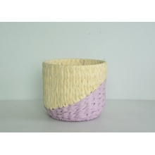 round two tone paper rope flower pot