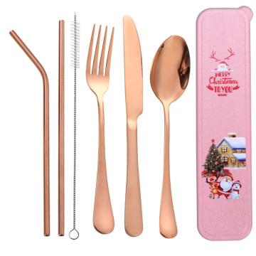 Reusable Christmas Gift Box Metal Travel Cutlery