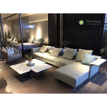 Modern Stylish Living room Na may Sofa ng Balat