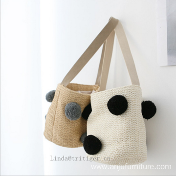 Women girl fashion straw paper weave shoulder tote bag